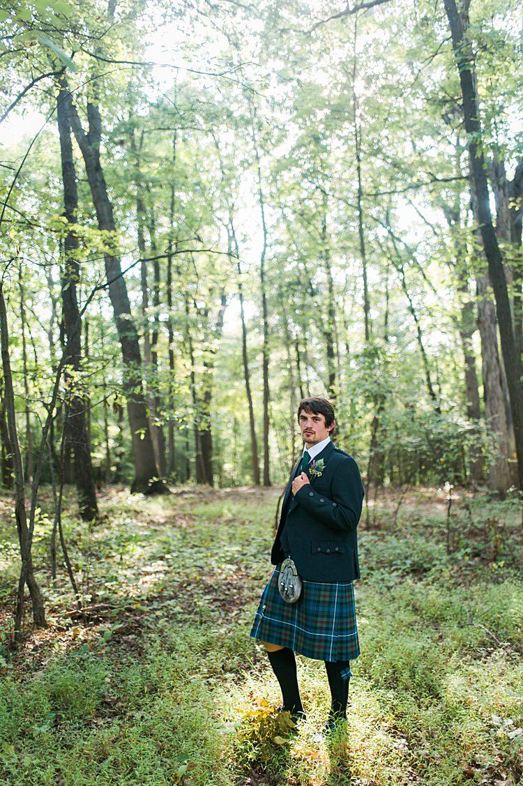 Groom Outdoors Forest Tartan Kilt Whimsical Woods Wedding Barn Ohio http://www.connectionphotoblog.com/