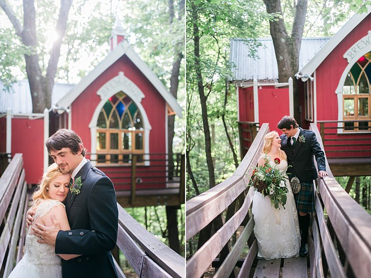 Bride Groom Embrace Bridge Outdoors Forest Treehouse Bridge Kilt Tartan Lace Gown Bouquet Greenery Whimsical Woods Wedding Barn Ohio http://www.connectionphotoblog.com/