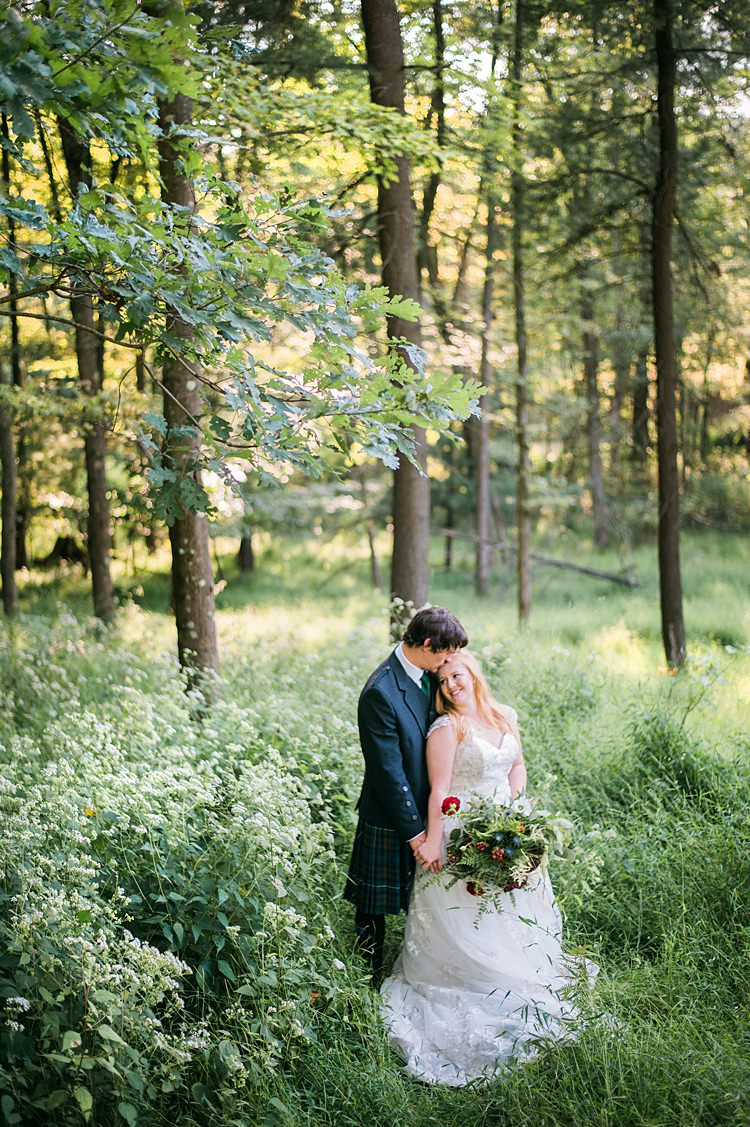 Bride Groom Forest Greenery Outdoors Bouquet Lace Dress Tartan Kilt Whimsical Woods Wedding Barn Ohio http://www.connectionphotoblog.com/