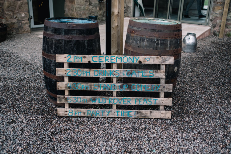 Wooden Pallet Sign Order Day Twinkling Rustic DIY Barn Wedding https://www.harperscottphoto.com/