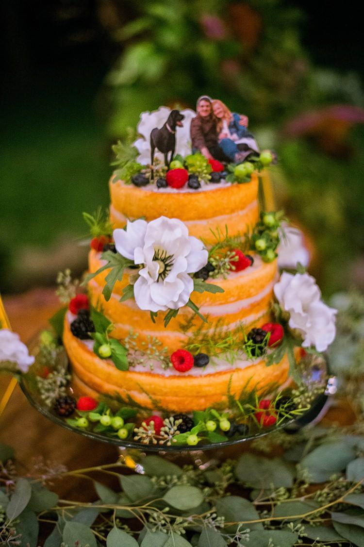 Naked Cake Bride Groom Topper Dog Flowers Fruit Greenery Whimsical Woods Wedding Barn Ohio http://www.connectionphotoblog.com/