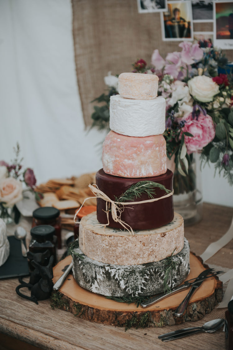 Cheese Tower Stack Cake Herbs Flowers Home Made Walled Garden Wedding https://www.rosiekelly.co.uk/