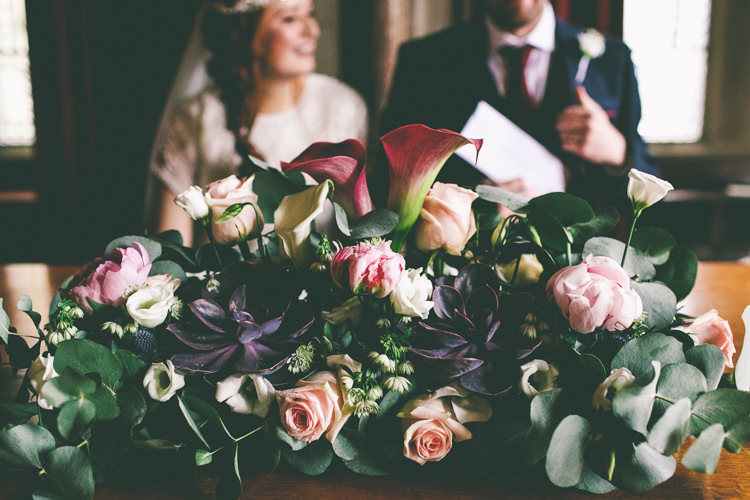 Ceremony Flowers Lily Peony Succulents Magical Industrial City Vintage Wedding http://www.emmaboileau.co.uk/