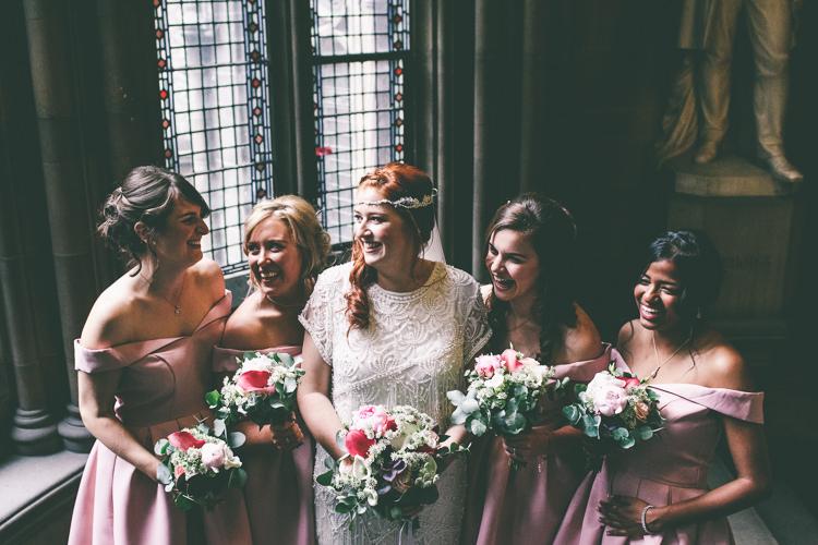 Off Shoulder Bardot Bridesmaid Dresses Pink Magical Industrial City Vintage Wedding http://www.emmaboileau.co.uk/
