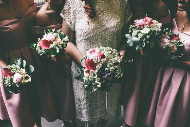 Bouquets Lilies Peonies Bride Bridal Flowers Bridesmaids Magical Industrial City Vintage Wedding http://www.emmaboileau.co.uk/