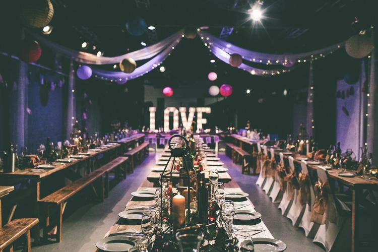 Drapes Fairy Lights Lanterns Decor Magical Industrial City Vintage Wedding http://www.emmaboileau.co.uk/