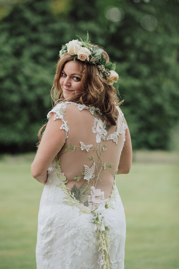 Claire Pettibone Papillion Dress Gown Bride Bridal Illusion Back Butterflies Greenery Enchanting Ancient Forest Wedding http://donnamurrayphotography.com/