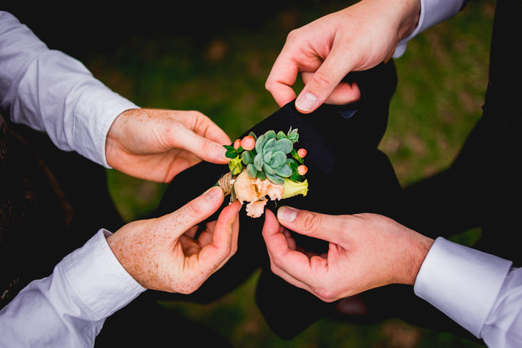 Succulent Berry Buttonhole Groom Eclectic Outdoor Barn Wedding https://www.barneywalters.com/