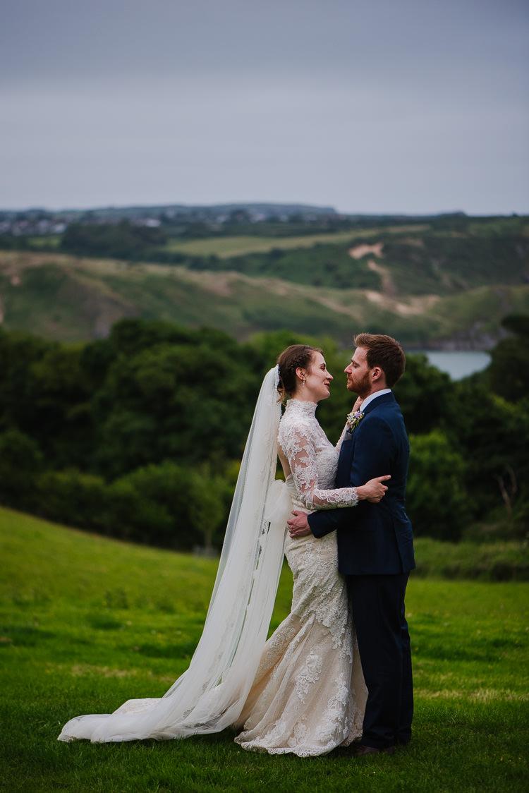Pronovias Dress Lace Veil Bride Bridal High Neck Fishtail Boho Funfair Floral Country Wedding https://www.jonnybarratt.com/