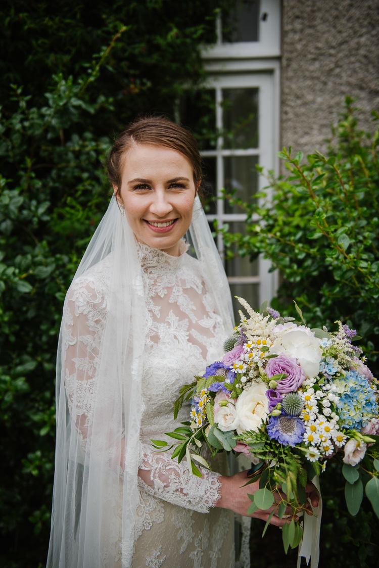 Bride Bridal Bouquet Flowers Pink Purple Rose Daisy Hydrangea Veil Lace Dress Boho Funfair Floral Country Wedding https://www.jonnybarratt.com/