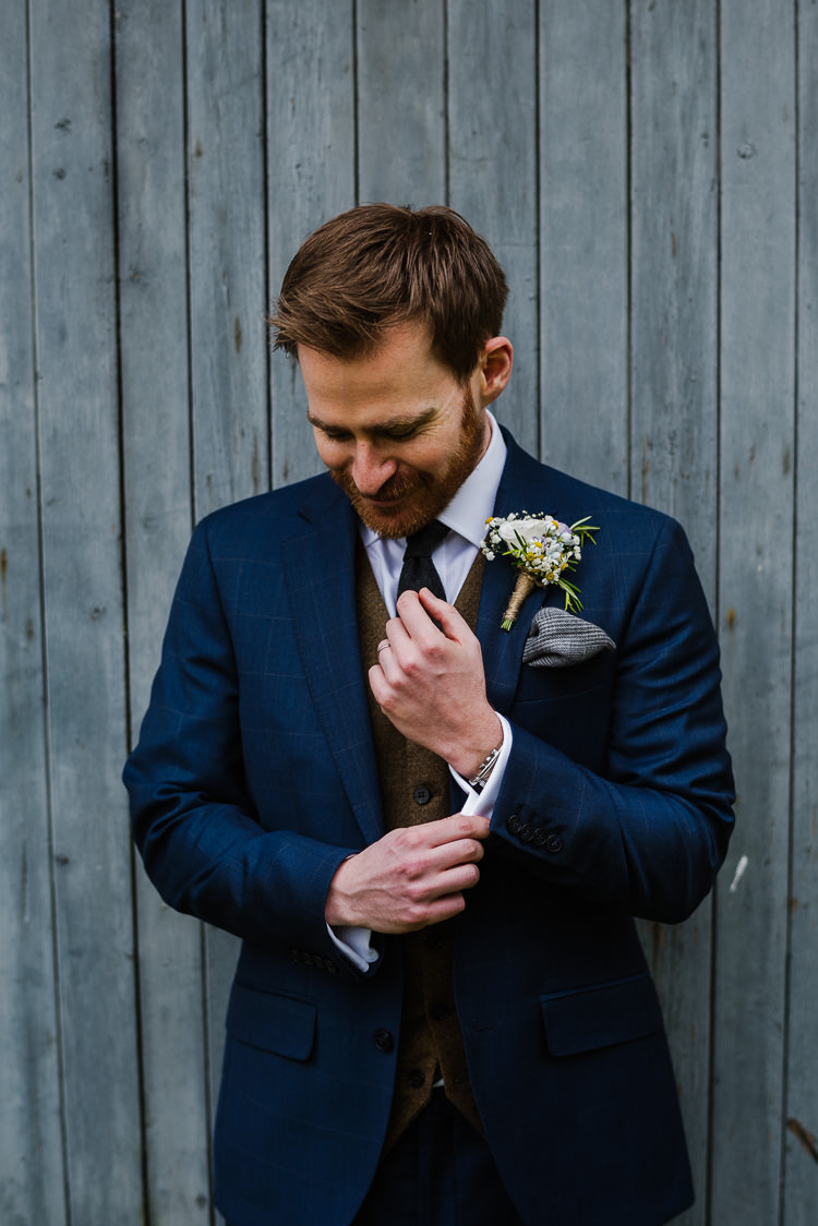 Groom Suit Style Navy Brown Waistcoat Boho Funfair Floral Country Wedding https://www.jonnybarratt.com/