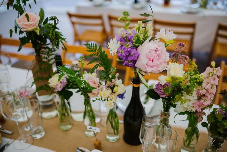 Bottle Flowers Pretty Tables Hessian Pink Boho Funfair Floral Country Wedding https://www.jonnybarratt.com/