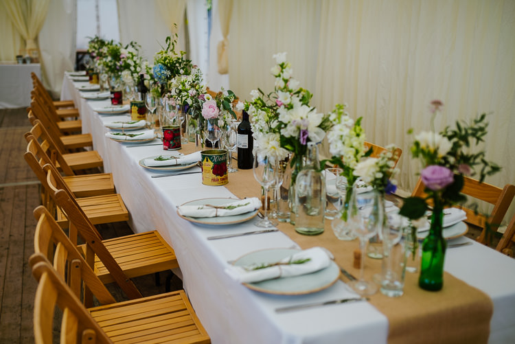 Long Tables Flowers Bottles Hessian Burlap Decor Tablescape Boho Funfair Floral Country Wedding https://www.jonnybarratt.com/