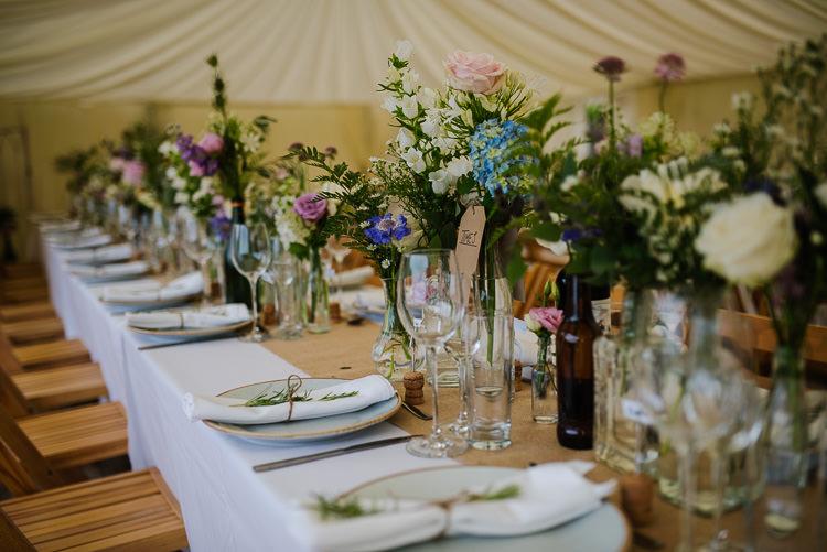 Bottle Flowers Tables Long Hessian Pretty Tablescape Boho Funfair Floral Country Wedding https://www.jonnybarratt.com/