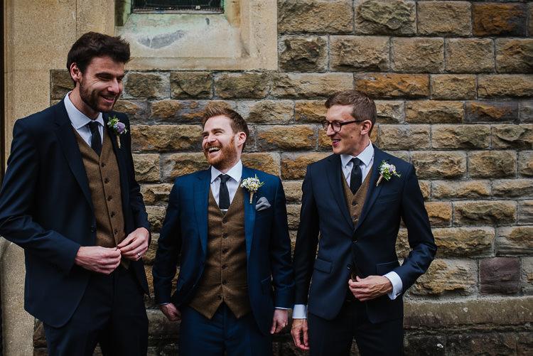 Groom Groomsmen Navy Suit Brown Waistcoats Boho Funfair Floral Country Wedding https://www.jonnybarratt.com/