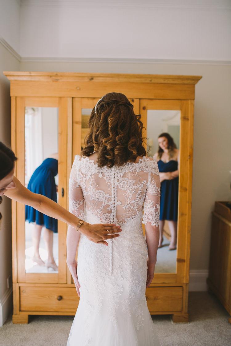 Bride Bridal Low V Back Fishtail Lace Jacket Fairy Lights Vibrant Florals Summer Barn Wedding https://www.oliviajudah.co.uk/