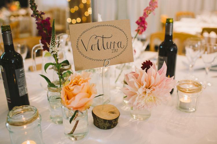 Table Centre Name Wood Slice Jam Jar Twine Rose Dahlia Tealights Fairy Lights Vibrant Florals Summer Barn Wedding https://www.oliviajudah.co.uk/