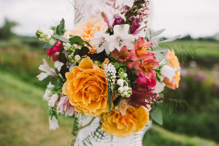 Dahlia Rose Berries Greenery Bouquet Bride Bridal Fairy Lights Vibrant Florals Summer Barn Wedding https://www.oliviajudah.co.uk/