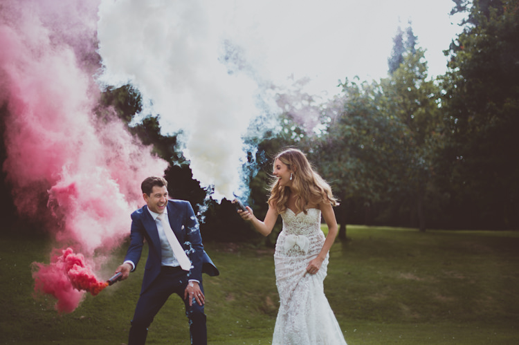 Smoke Bombs Stylish Festival Tipi Wedding http://sashaweddings.co.uk/