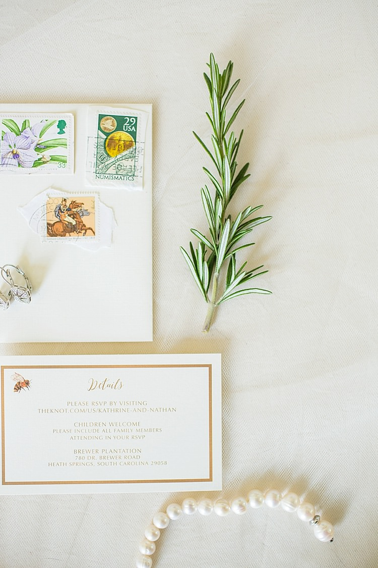 Stationery Pearls Rosemary Intimate Farmhouse Wedding South Carolina https://jessicahuntphotography.com/