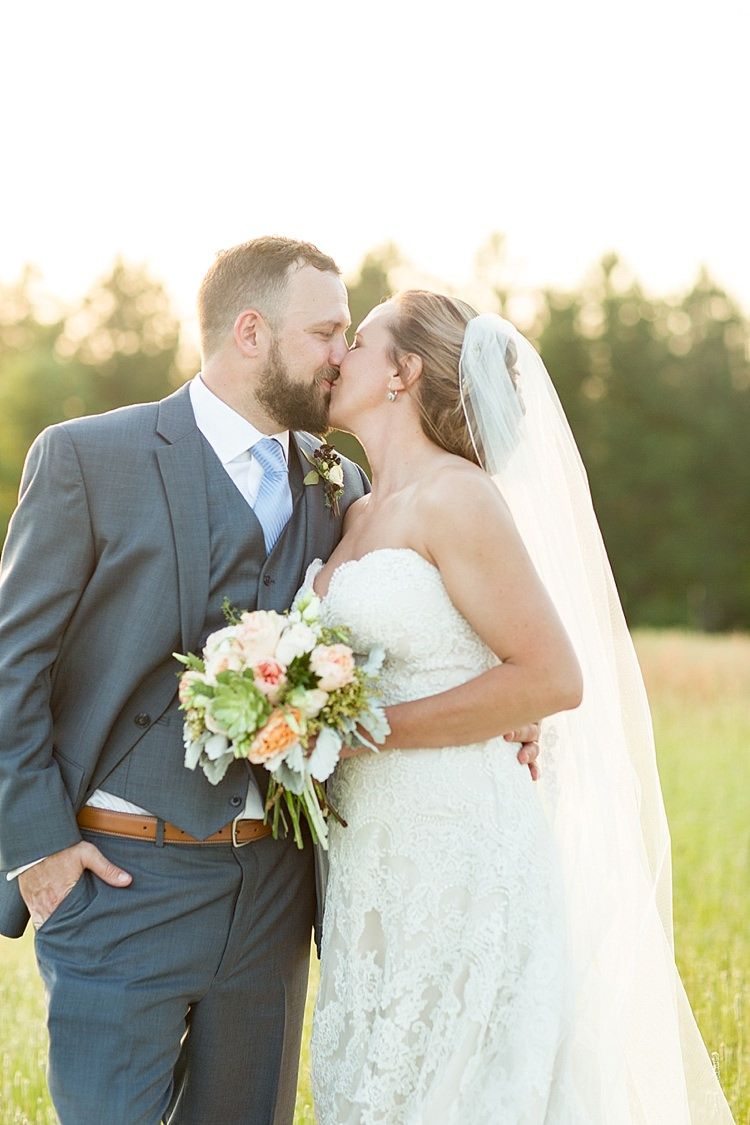 Groom Grey Suit Blue Tie Bride Long Veil Lace Dress Sweetheart Neckline Intimate Farmhouse Wedding South Carolina https://jessicahuntphotography.com/