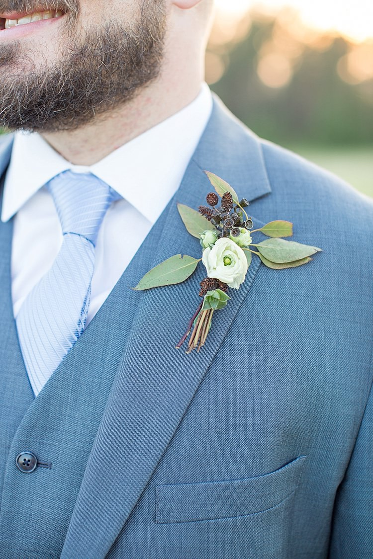 Groom Blue Tie Grey Suit Buttonhole Greenery Intimate Farmhouse Wedding South Carolina https://jessicahuntphotography.com/