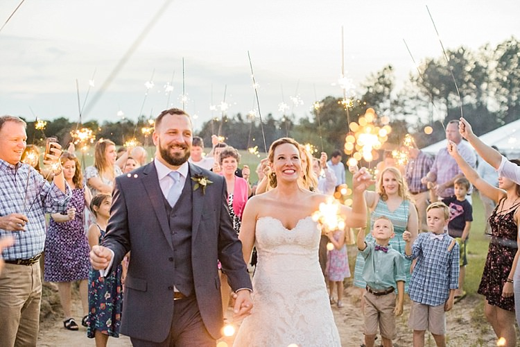 Bride Updo Long Veil Lace Gown Sweetheart Neckline Groom Grey Blue Sparkler Exit Intimate Farmhouse Wedding South Carolina https://jessicahuntphotography.com/