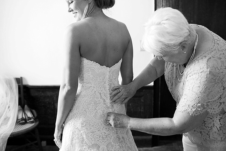 Bride Getting Ready Button Back Detail Lace Strapless Intimate Farmhouse Wedding South Carolina https://jessicahuntphotography.com/