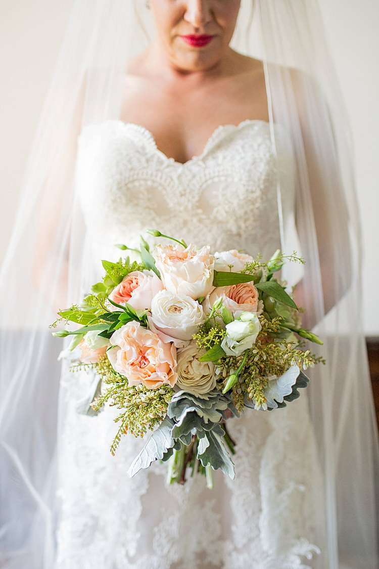 Bride Lace Dress Sweetheart Neckline Strapless Long Veil Peony Bouquet Peach Blush Pink White Intimate Farmhouse Wedding South Carolina https://jessicahuntphotography.com/