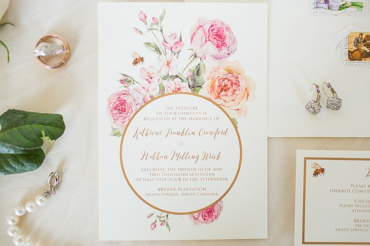 Stationery Invites Pearls Peonies Pink Intimate Farmhouse Wedding South Carolina https://jessicahuntphotography.com/