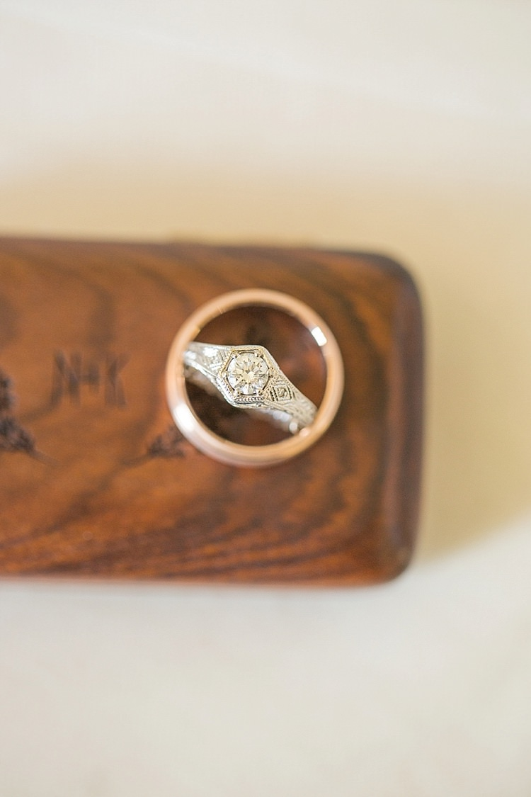 Vintage Rings Gold Diamond Intimate Farmhouse Wedding South Carolina https://jessicahuntphotography.com/
