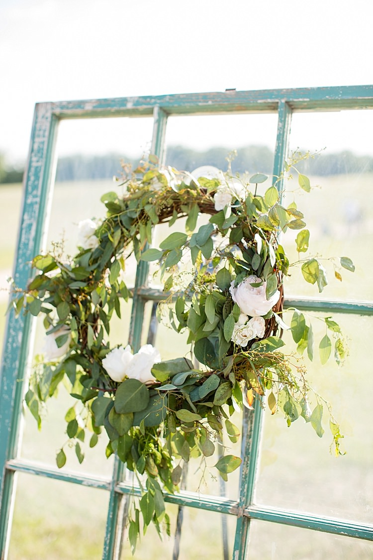 Greenery Wreath Window Intimate Farmhouse Wedding South Carolina https://jessicahuntphotography.com/