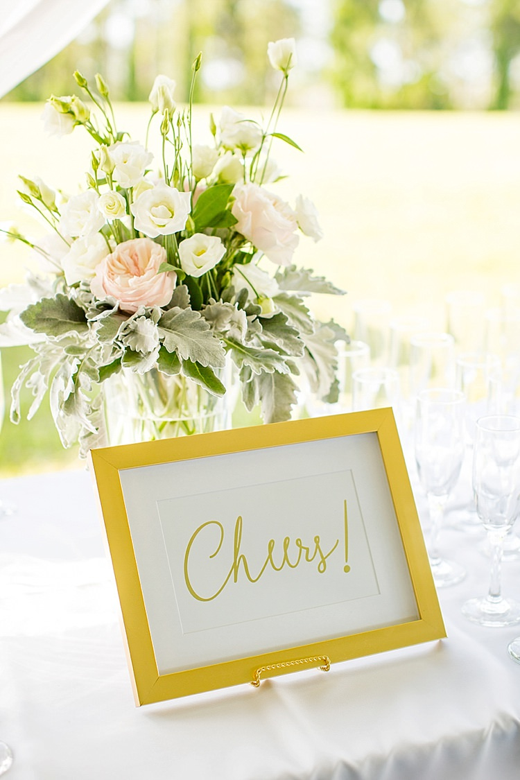 Drinks Table Cheers Sign Bubbles Champagne Flowers Peonies Pink Blush Intimate Farmhouse Wedding South Carolina https://jessicahuntphotography.com/