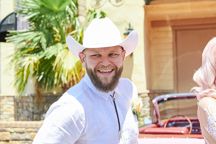 Groom White Outfit Cowboy Hat Beard Hip Elvis Las Vegas Destination Wedding http://www.roseimages.co.uk/