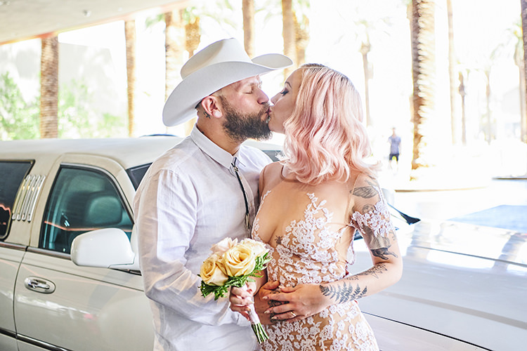White Limo Cowboy Hat Beard Sheer Gown Lace Blush Pink Hair Tattoos Hip Elvis Las Vegas Destination Wedding http://www.roseimages.co.uk/