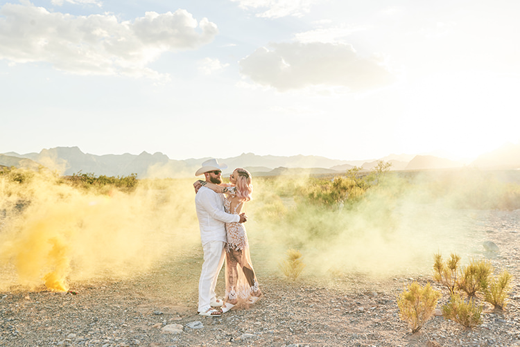 Yellow Smoke Desert Groom Cowboy Hat White Bride Pink Hair Blush Gown Lace Sheer Tattoos Hip Elvis Las Vegas Destination Wedding http://www.roseimages.co.uk/