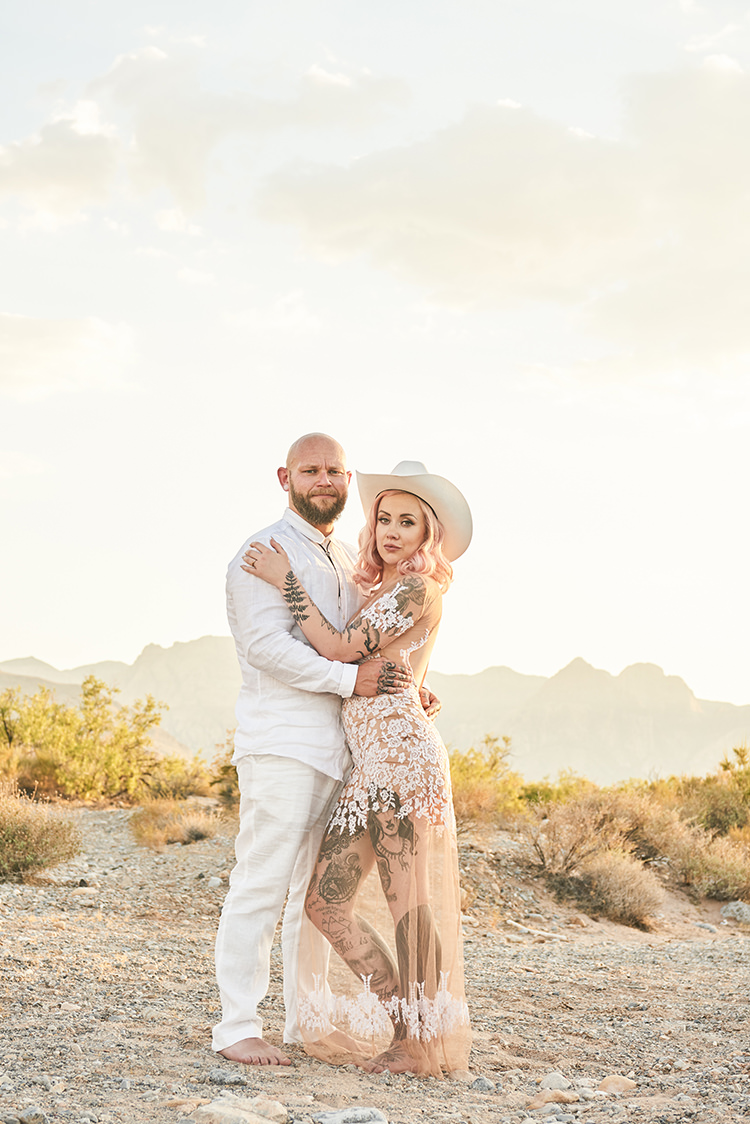 Cowboy Hat Barefoot Tattoos Sheer Dress Lace Pink Hair Hip Elvis Las Vegas Destination Wedding http://www.roseimages.co.uk/