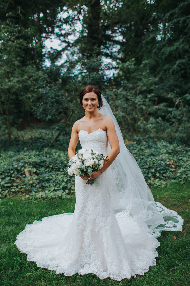 Bride Bridal Pronovias Strapless Sweetheart Fishtail Train Veil White Rose Bouquet Chic Romantic Florals Candlelight Wedding http://lisawebbphotography.co.uk/