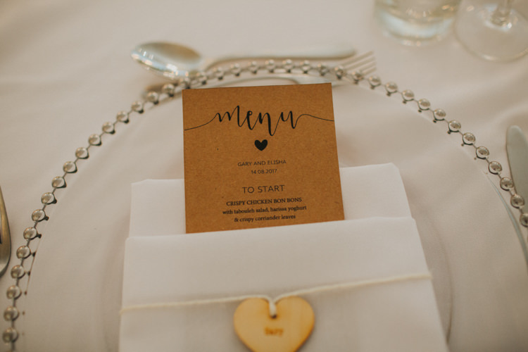 Table Place Setting Menu Wooden Cut Heart Charger Plate Chic Romantic Florals Candlelight Wedding http://lisawebbphotography.co.uk/
