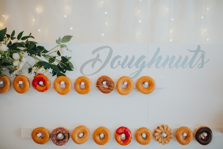 Doughnut Wall Modern Calligraphy Fairy Lights Chic Romantic Florals Candlelight Wedding http://lisawebbphotography.co.uk/