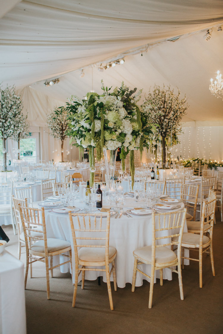 Tall Table Centrepiece Arrangements Weeping Willow White Rose Chic Romantic Florals Candlelight Wedding http://lisawebbphotography.co.uk/