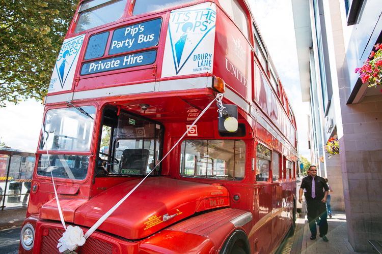 London Bus Red Double Decker Magical Woodland Glade Tipi Wedding http://johnnydent.co.uk/