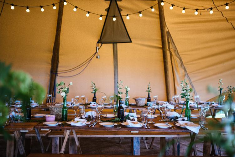Festoon Lights Decor Greenery Magical Woodland Glade Tipi Wedding http://johnnydent.co.uk/