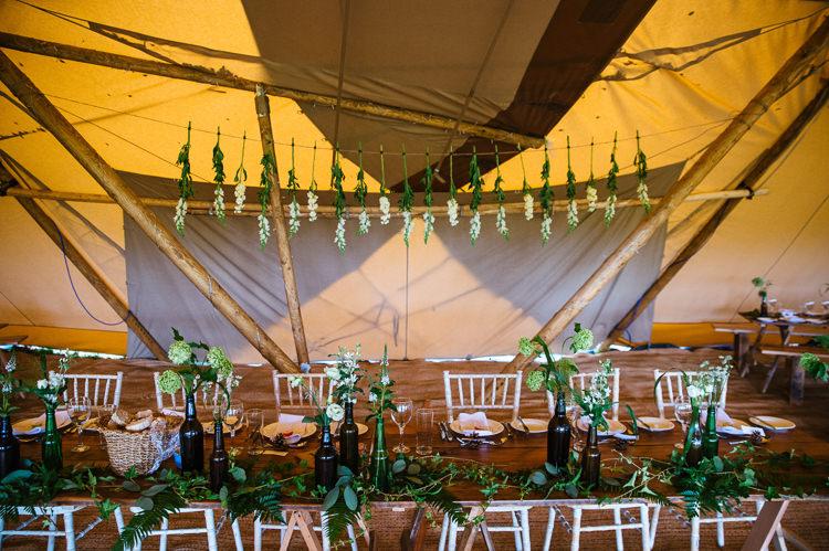 Flowers Greenery Hanging Decor Magical Woodland Glade Tipi Wedding http://johnnydent.co.uk/