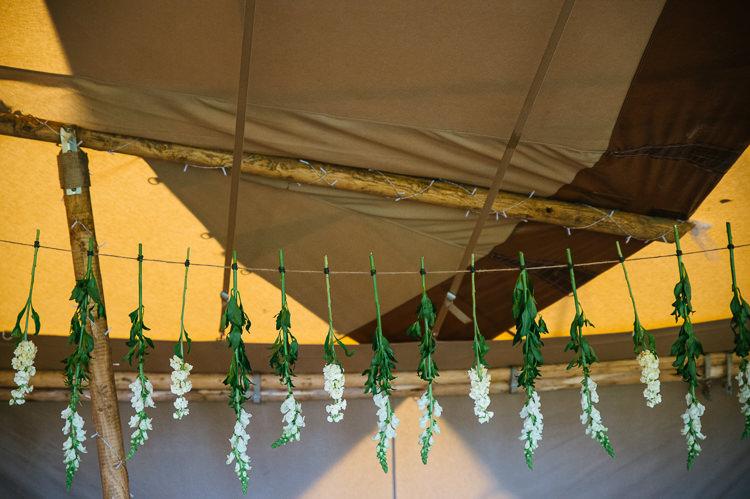 Hanging Flowers Decor Magical Woodland Glade Tipi Wedding http://johnnydent.co.uk/