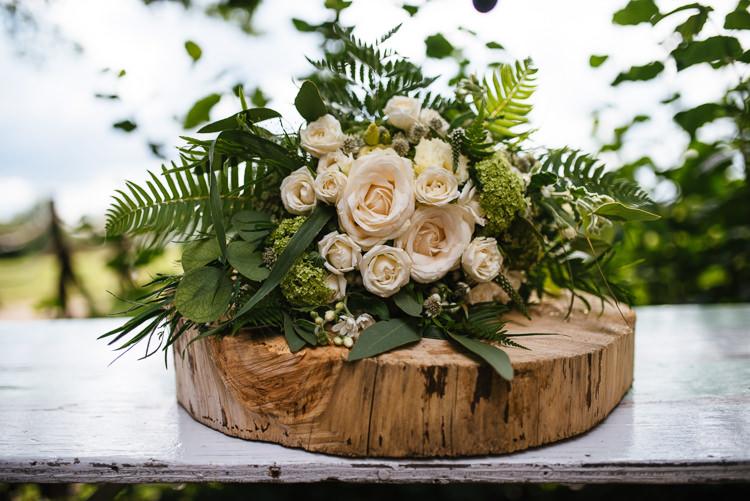 Bouquet Roses Ferns Foliage Flowers Bride Bridal Magical Woodland Glade Tipi Wedding http://johnnydent.co.uk/