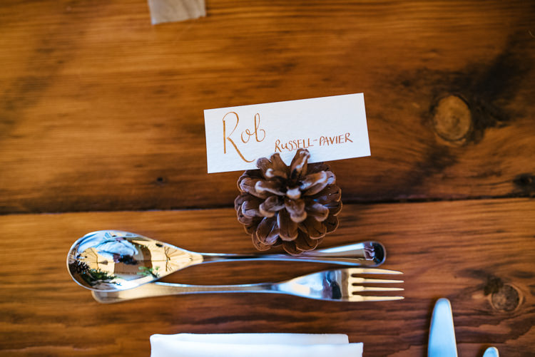 Pinecone Place Name Card Setting Magical Woodland Glade Tipi Wedding http://johnnydent.co.uk/