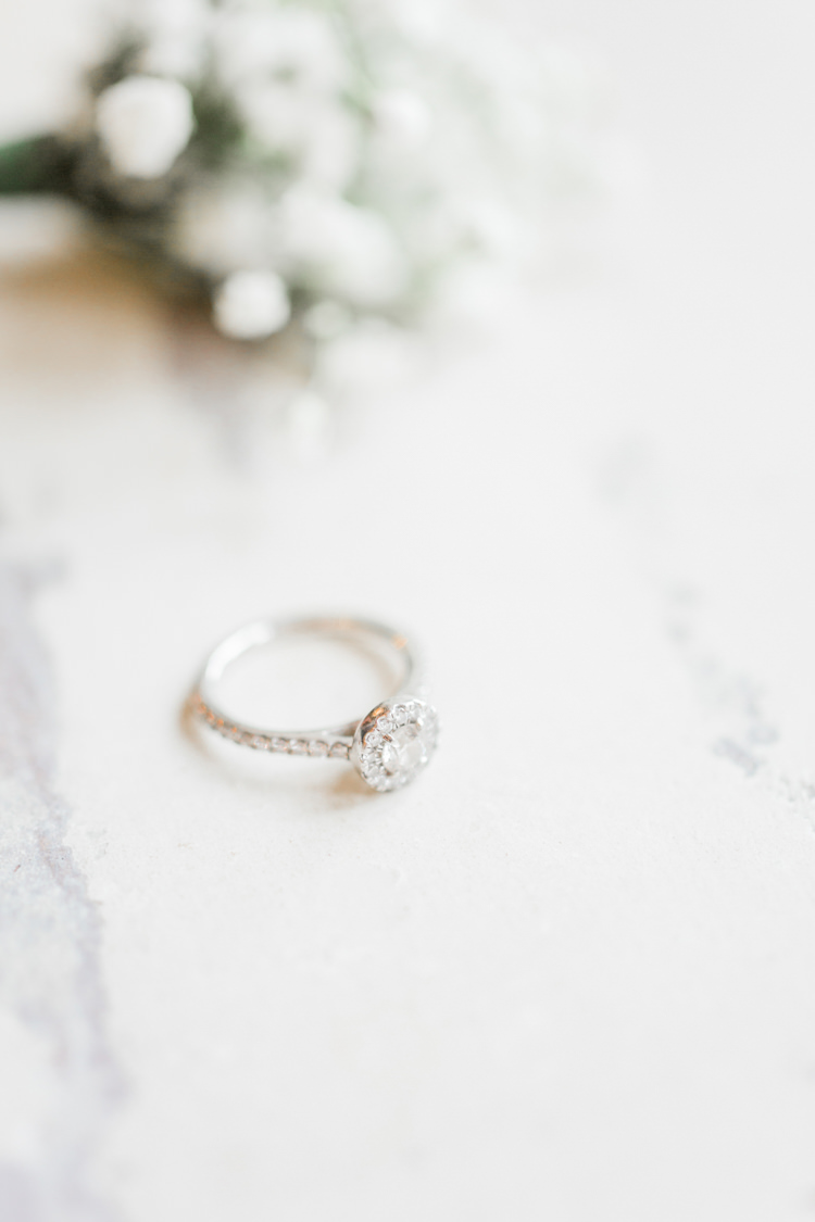 Princess Halo Diamond Engagement Ring Solitaire Simple Elegant Luxe Blush Pink Wedding http://katymelling.com/
