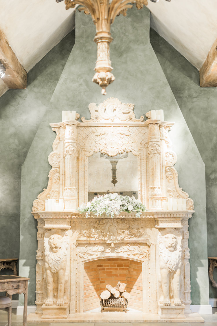 French Fireplace Grand Mantle Flowers Simple Elegant Luxe Blush Pink Wedding http://katymelling.com/
