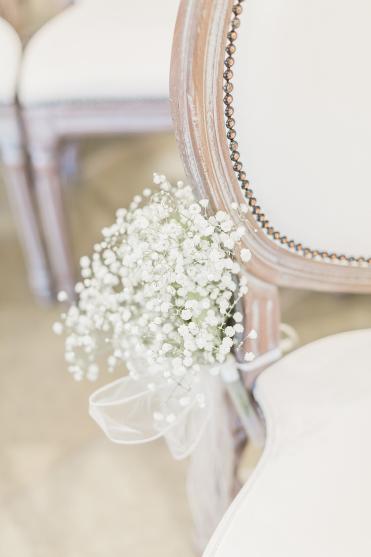 Gyp Gypsophila Bouquets Flowers Pew End Aisle Chairs  Simple Elegant Luxe Blush Pink Wedding http://katymelling.com/